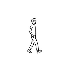 walking person hand drawn outline doodle icon vector image