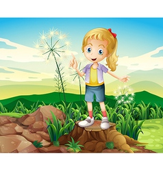 A stump with a young girl standing vector image vector image