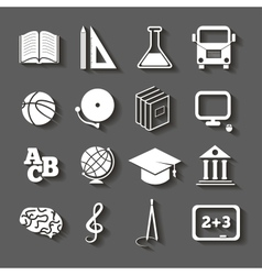 Education school icons with shadow on gray vector image vector image