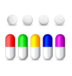 icon of white tablets and colorful pills vector image
