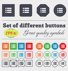 List menu content view options icon sign big set vector