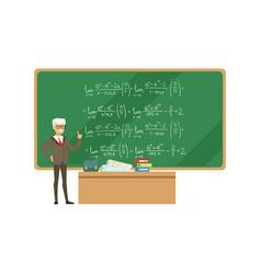 professor near the blackboard with formulas vector image