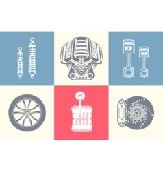 Set Parts of Car vector image