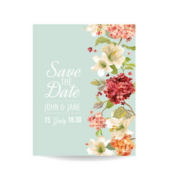 wedding card with autumn vintage hortensia flowers vector image vector image