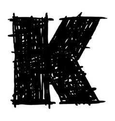 K - hand drawn character sketch font vector image vector image