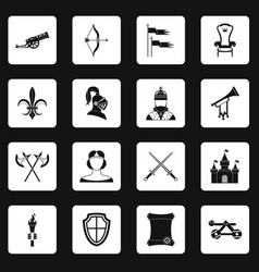 knight medieval icons set squares vector image