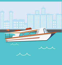 Modern speed boat in river with buildings vector