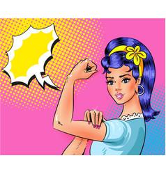 pop art beautiful young woman showing vector image