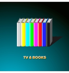 Row of books made tv-colorful no signal background vector image vector image