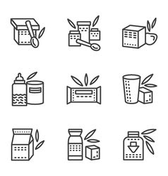 Baby food simple line icons vector image