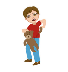 Boy ripping apart teddy bear part of bad kids vector