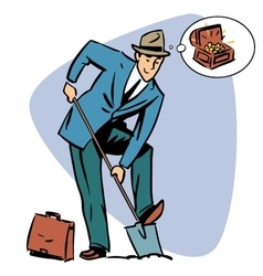 Businessman treasure hunter dreams money business vector image vector image