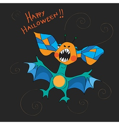 halloween bat card vector image vector image