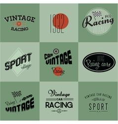 Vintage car racing badges vector image