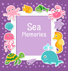 violet border with cute sea animals sea frame vector image