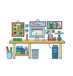 a computer placed on an vector image