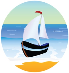 boat and beach cartoon vector image vector image