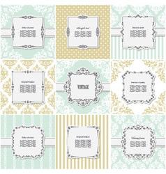 Elegant frame on pattern set vector image