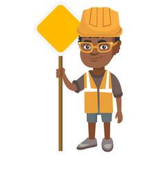 little african builder boy holding road sign vector image