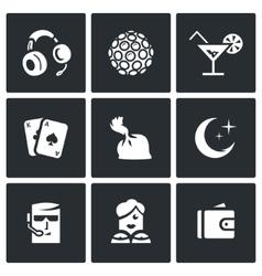Set of night club icons music lighting vector