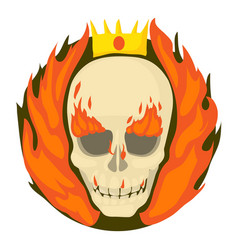 skull on fire icon cartoon style vector image