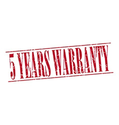5 years warranty red grunge vintage stamp isolated vector