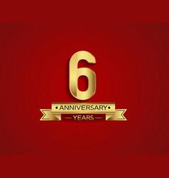 6 years anniversary golden design color vector