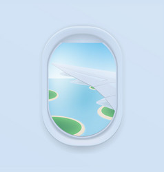 Airplane window cartoon flat vector