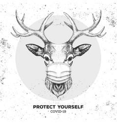 Animal deer wearing face medical mask covid-19 vector