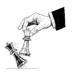 Artistic drawing of hand holding chess king and vector