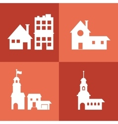 Assorted building type icons image vector