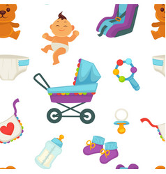 Baby newborn kid and pram perambulator pattern vector