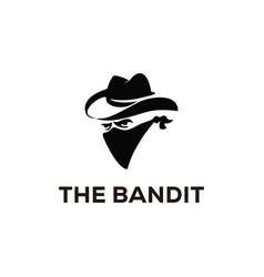Bandit cowboy with bandana scarf mask logo vector