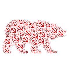Bear mosaic of sickle and hammer icons vector