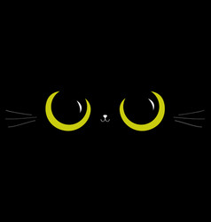 Black cat big green eyes moustaches nose head vector