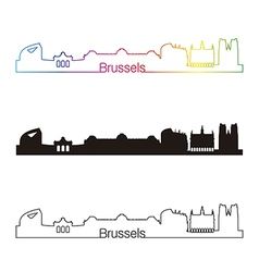Brussels skyline linear style with rainbow vector