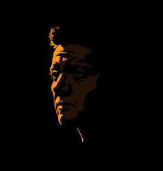 Brutal man portrait silhouette in contrast vector