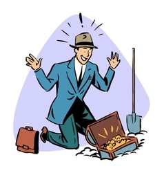 businessman found treasure business people concept vector image