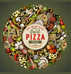 cartoon doodles pizza vector image