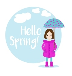 Cartoon girl character spring vector