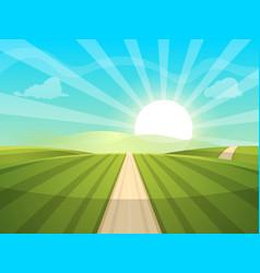 Cartoon landscape sun road cloud vector