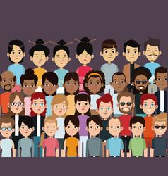 Character people multiethnic community portrait vector