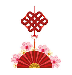 Chinese fan and decorative pendant vector