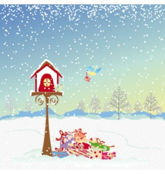 Christmas greeting robin birds vector image