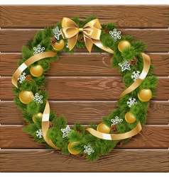 Christmas Wreath on Wooden Board 1 vector image