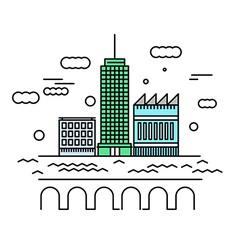 City architecture Urban landscape with skyscraper vector