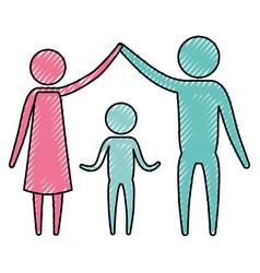 color crayon silhouette pictogram couple parents vector image