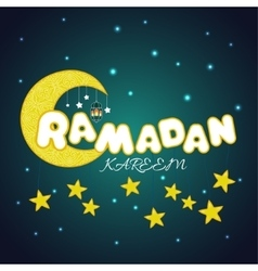 Creative card with stars and moon for Islamic vector image
