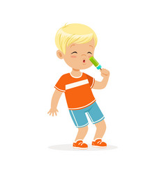Cute blonde little boy character eating ice cream vector