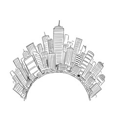Drawing generic modern high rise buildings vector